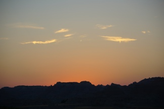 Sunset over The Badlands.