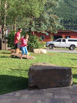 David playing with the kids cornhole.