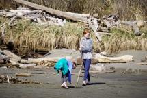 Girls enjoying the beach.