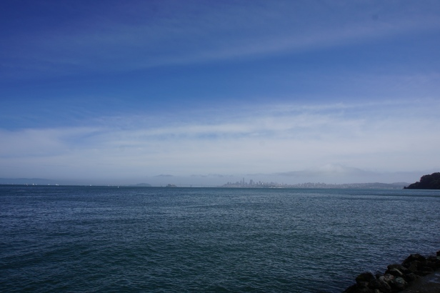 A view of San Francisco and you can see the fog rolling in.